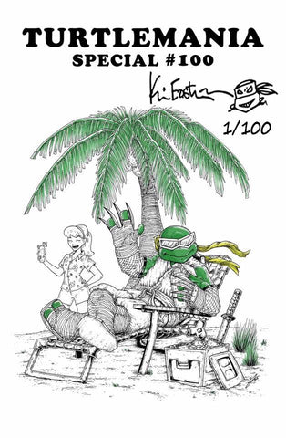 TMNT #100 MIKE VASQUEZ WHITE TURTLEMANIA  HOMAGE VARIANT SIGNED, REMARKED & NUMBERED BY KEVIN EASTMAN LIMITED TO 100 COPIES WITH COA