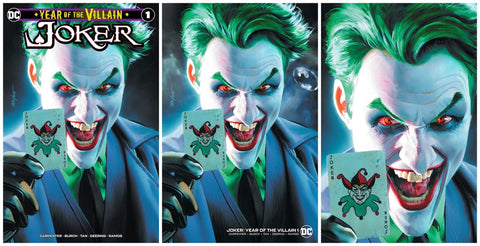 JOKER YEAR OF THE VILLAIN #1 MIKE MAYHEW TRADE DRESS/VIRGIN VARIANT SET LIMITED TO 600 SETS WITH NUMBERED COA + FREE MINIMAL TRADE DRESS LIMITED TO 1000