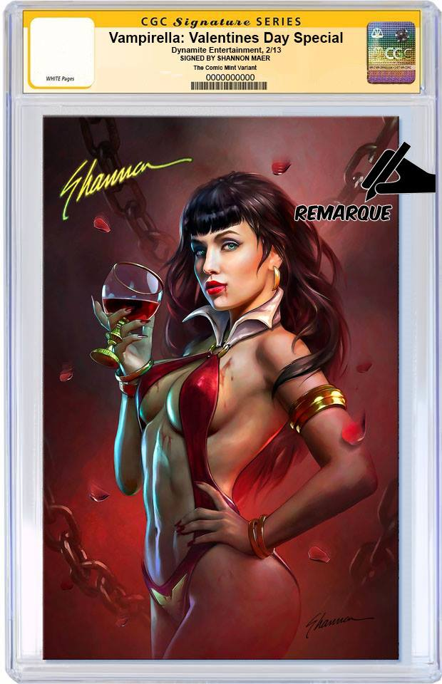 VAMPIRELLA VALENTINES DAY SPECIAL #1 SHANNON MAER VIRGIN VARIANT LIMITED TO 500 COPIES WORLDWIDE CGC REMARK PREORDER