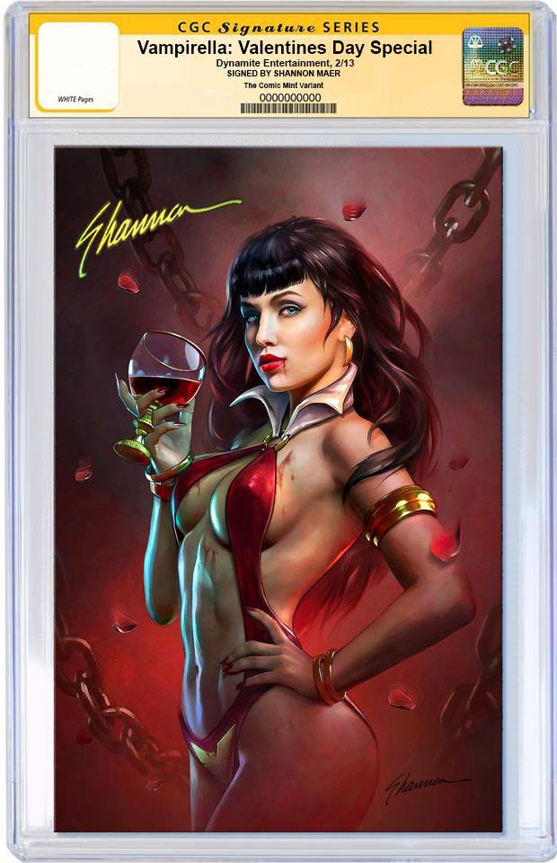 VAMPIRELLA VALENTINES DAY SPECIAL #1 SHANNON MAER VIRGIN VARIANT LIMITED TO 500 COPIES WORLDWIDE CGC SS PREORDER
