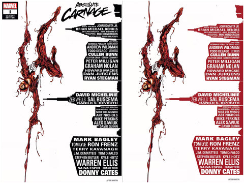 ABSOLUTE CARNAGE #1 MARK BAGLEY SKYLINE VARIANT (ASM 700 HOMAGE) TRADE/VIRGIN SET LIMITED TO 600 SETS WITH NUMBERED COA