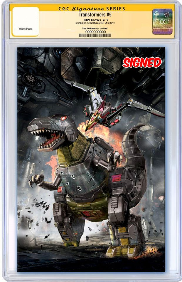 TRANSFORMERS #5 JOHN GALLAGHER DINOSAUR GRIMLOCK VIRGIN VARIANT LIMITED TO 300 CGC SS PREORDER