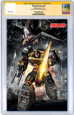 TRANSFORMERS #5 JOHN GALLAGHER ROBOT GRIMLOCK VIRGIN VARIANT LIMITED TO 600 CGC SS PREORDER