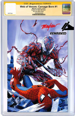 WEB OF VENOM CARNAGE BORN #1 MIKE MAYHEW SPIDER-MAN HOMAGE TRADE DRESS LIMITED TO 1000 CGC REMARK PREORDER