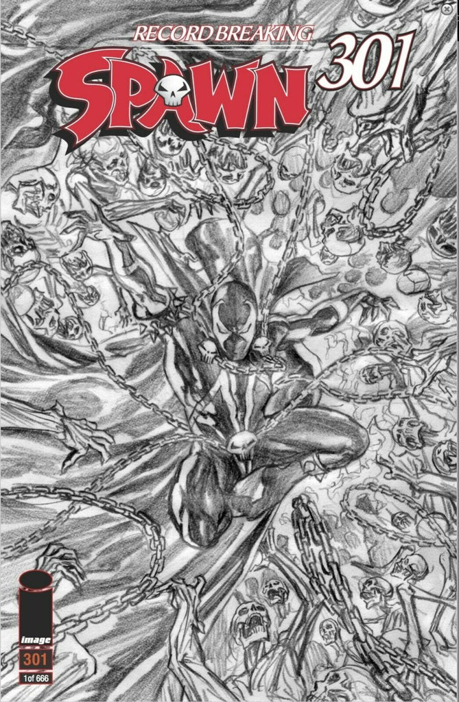 SPAWN #301 ALEX ROSS B&W SKETCH VARIANT LTD TO 666 SIGNED BY ALEX ROSS ONLY 100 SIGNED WITH NUMBERED COA