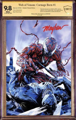 WEB OF VENOM CARNAGE BORN #1 MIKE MAYHEW VENOM VIRGIN VARIANT ULTIMATE CBCS 9.8 SS LIMITED TO 300