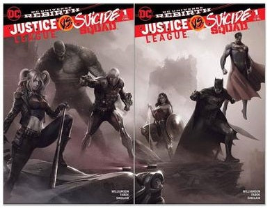 JUSTICE LEAGUE VS SUICIDE SQUAD #1 FRANCESCO MATTINA JOINING COVERS B & W