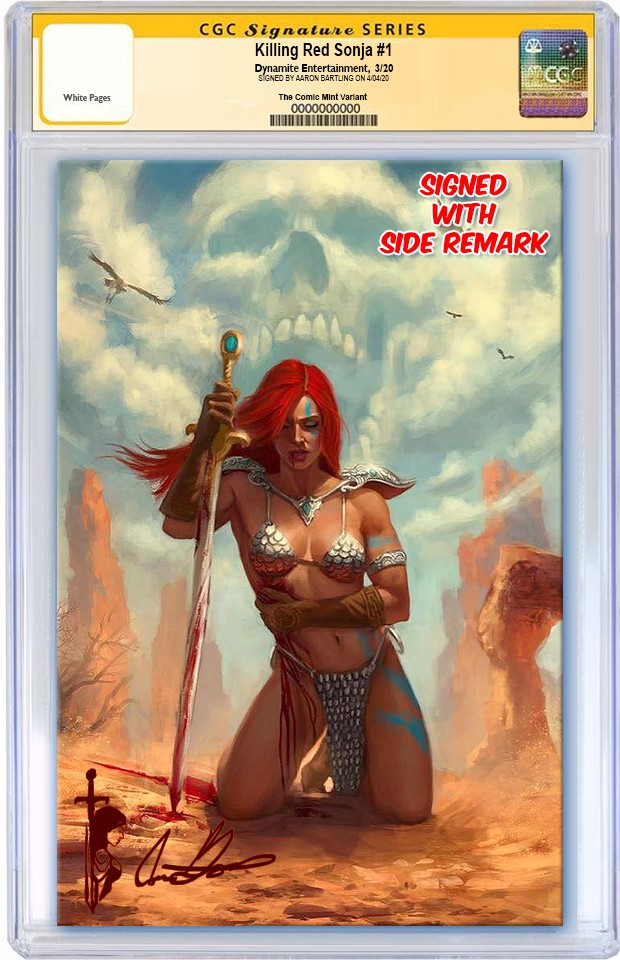 KILLING RED SONJA #1 AARON BARTLING VIRGIN VARIANT LIMITED TO 500 CGC SS & SIDE REMARK REORDER
