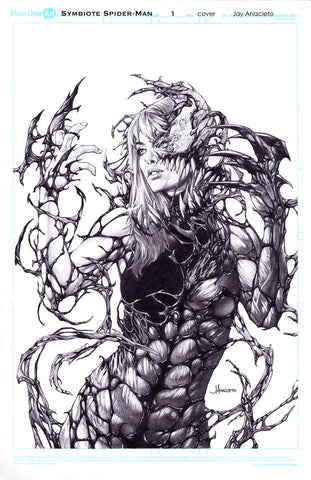 SYMBIOTE SPIDER-MAN #1 JAY ANACLETO CARNAGE QUEEN SKETCH VIRGIN VARIANT LIMITED TO 1000
