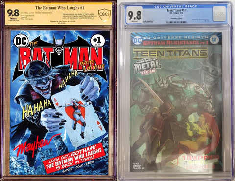 BATMAN WHO LAUGHS #1 MIKE MAYHEW HOMAGE TRADE DRESS VARIANT LIMITED TO 250 CBCS 9.8 ULTIMATE EDITION & TEEN TITANS #12 FOIL CGC 9.8 BUNDLE