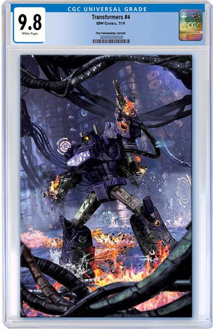 TRANSFORMERS #4 JOHN GALLAGHER BATTLE DAMAGED SHOCKWAVE VIRGIN VARIANT LIMITED TO 300 CGC 9.8 PREORDER