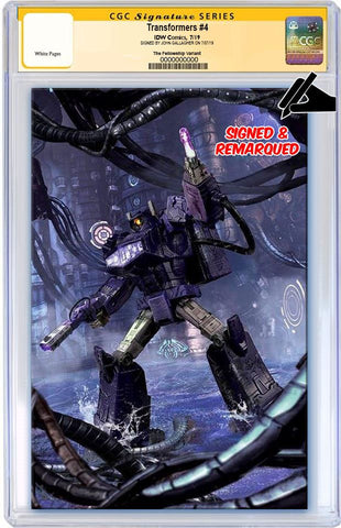 TRANSFORMERS #4 JOHN GALLAGHER BATTLE READY SHOCKWAVE VIRGIN VARIANT LIMITED TO 600 CGC REMARK PREORDER
