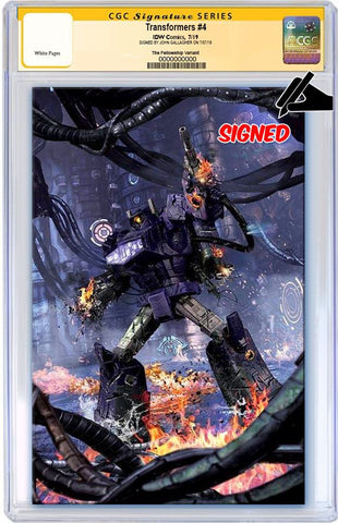 TRANSFORMERS #4 JOHN GALLAGHER BATTLE DAMAGED SHOCKWAVE VIRGIN VARIANT LIMITED TO 300 CGC SS PREORDER