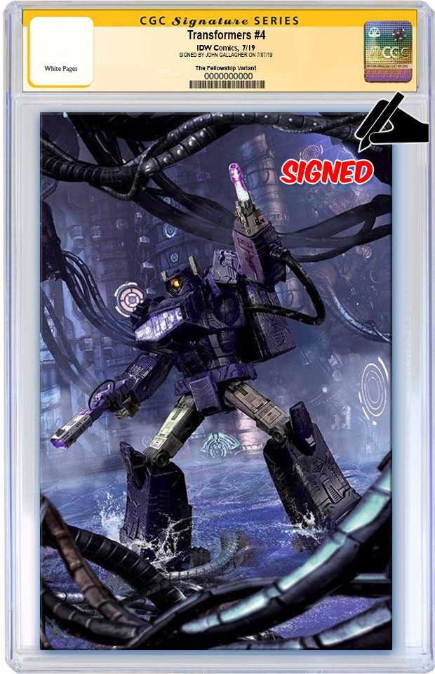 TRANSFORMERS #4 JOHN GALLAGHER BATTLE READY SHOCKWAVE VIRGIN VARIANT LIMITED TO 600 CGC SS PREORDER