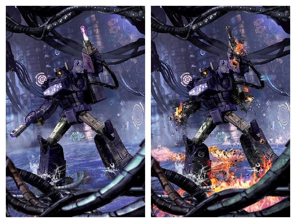 TRANSFORMERS #4 JOHN GALLAGHER BATTLE READY/DAMAGED SHOCKWAVE VIRGIN VARIANT SET LIMITED TO 300 SETS