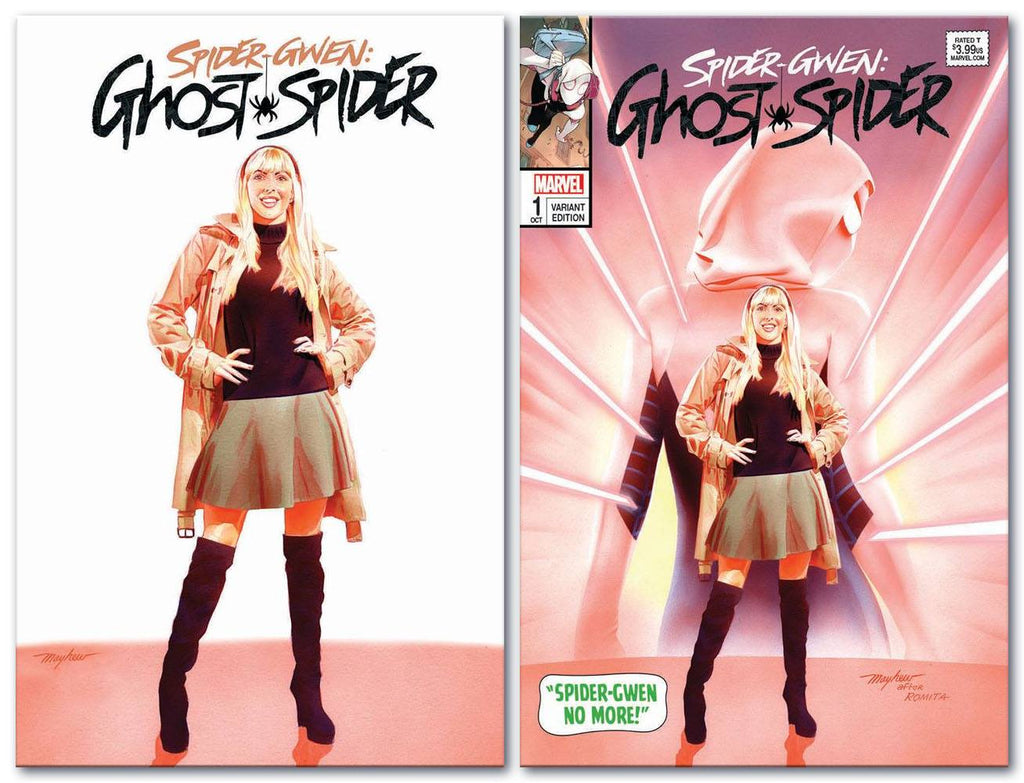SPIDER-GWEN AKA GHOSTSPIDER #1 MIKE MAYHEW ASM 50 WHITE/HOMAGE TRADE SET LIMITED TO 600 SETS