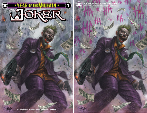 JOKER YEAR OF THE VILLAIN #1 LUCIO PARRILLO TRADE DRESS/MINIMAL TRADE VARIANT SET LIMITED TO 600 SETS WITH NUMBERED COA