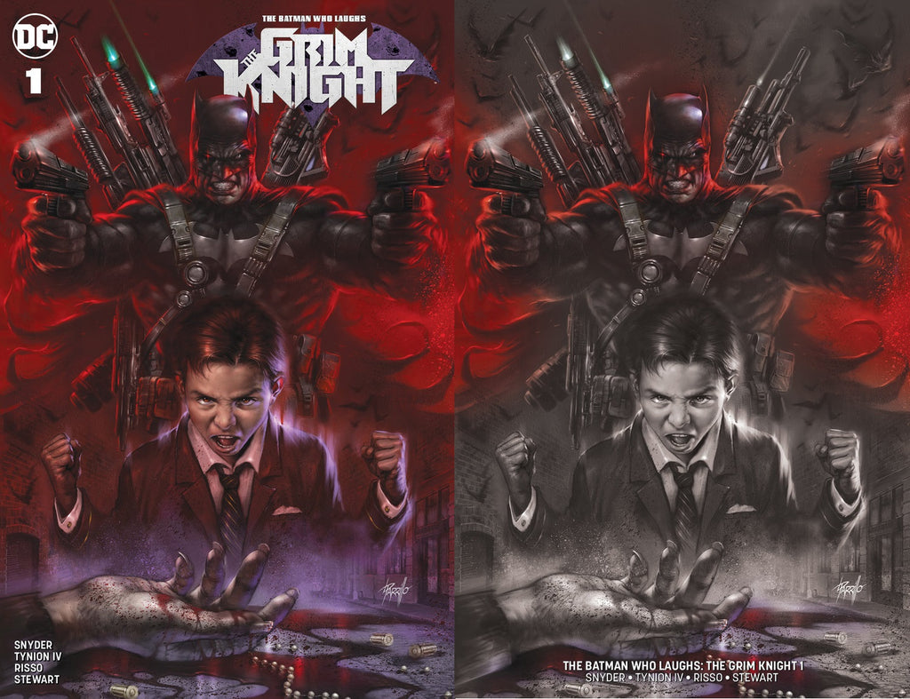 BATMAN WHO LAUGHS THE GRIM KNIGHT #1 LUCIO PARRILLO TRADE DRESS/MINIMAL TRADE VARIANT SET LIMITED TO 1000 SETS WITH NUMBERED COA