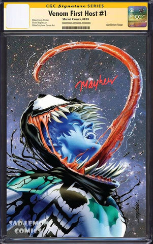 VENOM FIRST HOST #1 MIKE MAYHEW VARIANT '1ST APP OF TEL-KAR' VIRGIN VARIANT LIMITED TO 700 CGC SS