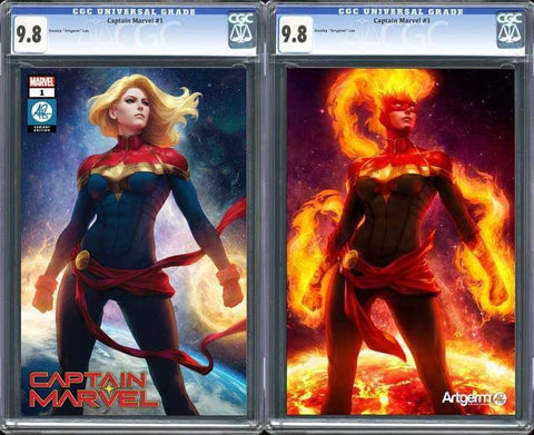 CAPTAIN MARVEL #1 ARTGERM EXCLUSIVE TRADE DRESS/VIRGIN VARIANT SET CGC 9.8 PREORDER