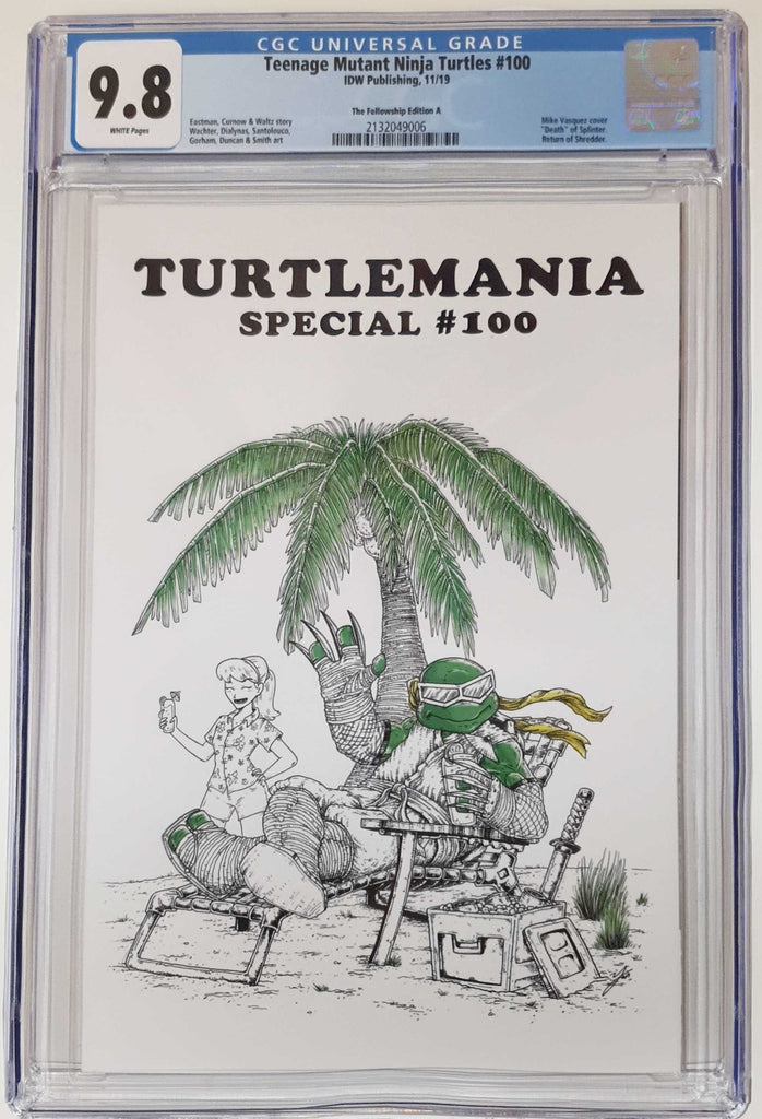 TMNT #100 MIKE VASQUEZ WHITE TURTLEMANIA  HOMAGE VARIANT LIMITED TO 400 UNSIGNED COPIES CGC 9.8