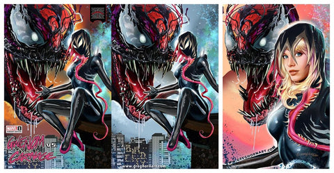 KING IN BLACK GWENOM VS CARNAGE #1 GREG HORN TRADE & 2x VIRGIN VARIANT SET