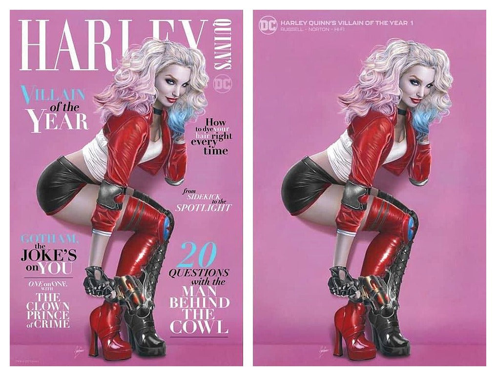 HARLEY QUINN VILLAIN OF THE YEAR #1 NATALI SANDERS TRADE/MINIMAL VARIANT SET LIMITED TO 750 SETS WITH NUMBERED COA