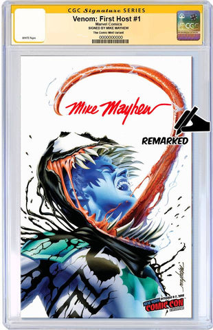 VENOM FIRST HOST #1 MIKE MAYHEW VARIANT NYCC VARIANT LIMITED TO 1000 CGC SS REMARK PREORDER