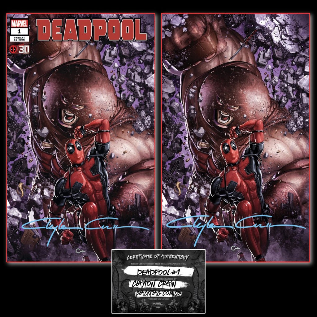 DEADPOOL NERDY 30 #1 CLAYTON CRAIN EXCLUSIVE TRADE/VIRGIN VARIANT SET WITH CLASSIC SIGNATURE & COA