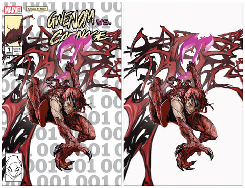 GWENOM VS CARNAGE #1 SKAN SRISUWAN CARNAGIZED MJ ASM 300 HOMAGE TRADE/VIRGIN VARIANT SET LIMITED TO 1000 SETS