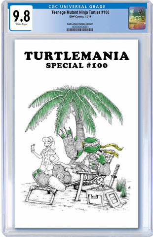 TMNT #100 MIKE VASQUEZ WHITE TURTLEMANIA  HOMAGE VARIANT LIMITED TO 400 UNSIGNED COPIES CGC 9.8 PREORDER