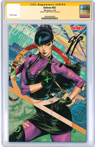 BATMAN #92 CARD STOCK ARTGERM VARIANT VAR ED - 1ST SOLO PUNCHLINE COVER - CGC SS SIGNED BY JAMES TYNION IV