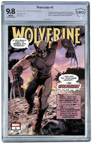 WOLVERINE #1 MIKE MAYHEW HULK #180 ULTIMATE HOMAGE VARIANT LIMITED TO 180 CBCS 9.8 WITH PENCILS COA