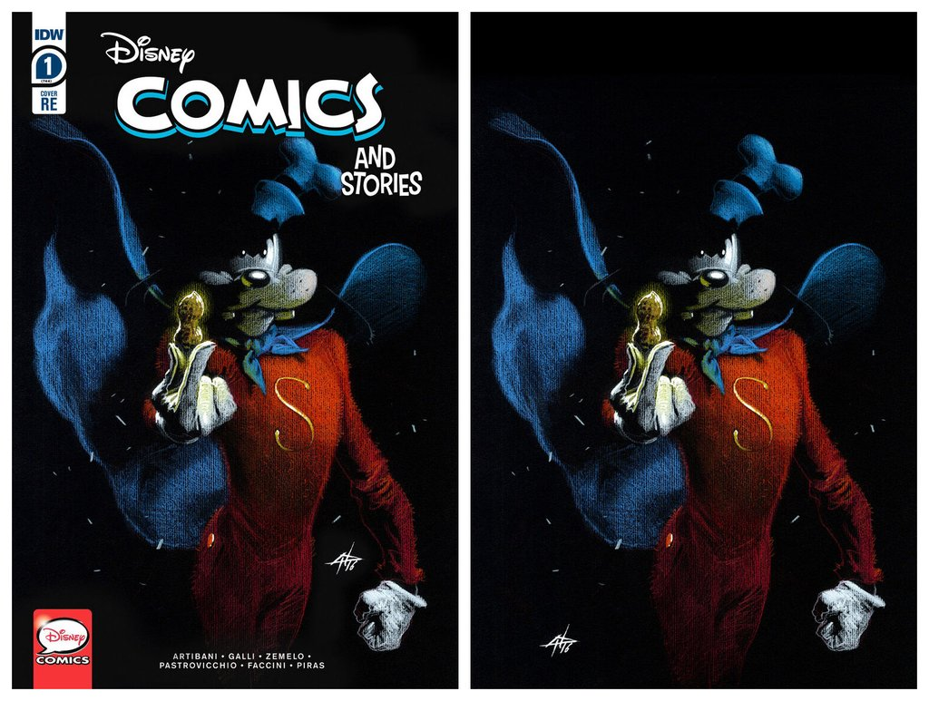 DISNEY COMICS AND STORIES #1 GABRIELE DELL'OTTO GOOFY TRADE/VIRGIN VARIANT SET LIMITED TO 666 SETS WITH COA