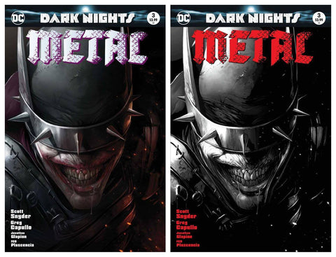 DARK NIGHTS METAL #3 FRANCESCO MATTINA TRADE AND B&W VARIANT SET LIMITED TO 3000/1500