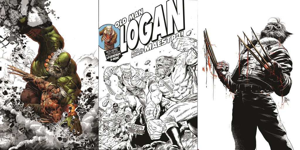 OLD MAN LOGAN #25 VARIANT SETS BW COLOUR SPLASH LIMITED TO 1000, HOMAGE SKETCH LIMITED TO 1000, DEODATO BLOOD SKETCH LIMITED TO 600