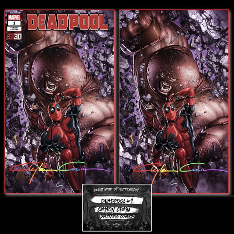 DEADPOOL NERDY 30 #1 CLAYTON CRAIN EXCLUSIVE TRADE/VIRGIN VARIANT SET WITH INFINITY SIGNATURE & COA