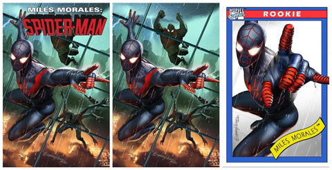 MILES MORALES #25 GREG HORN TRADE/VIRGIN/TRADING CARD VARIANT SET LIMITED TO 1000 SETS
