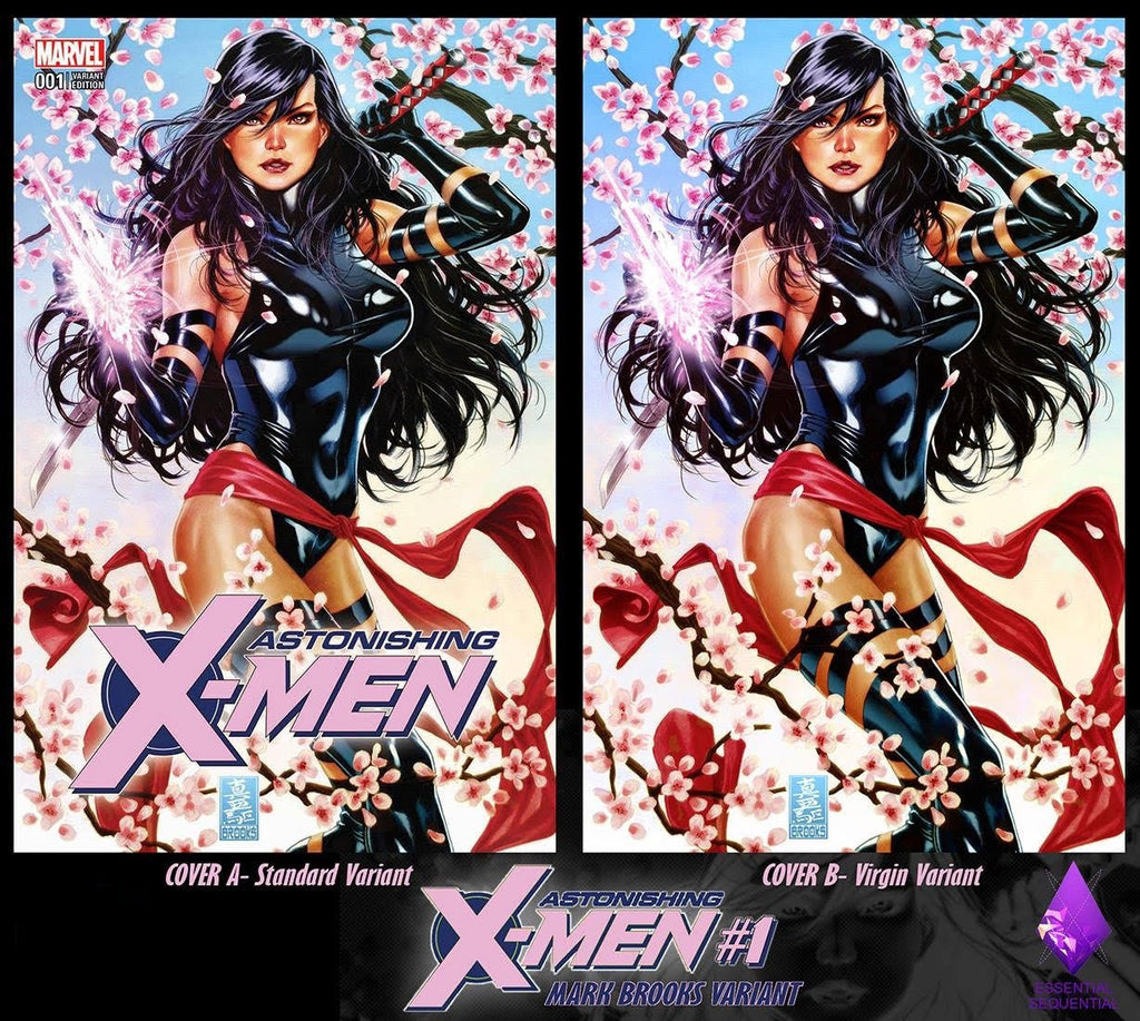 ASTONISHING X-MEN #1 MARK BROOKS PSYLOCKE VIRGIN VARIANT SET