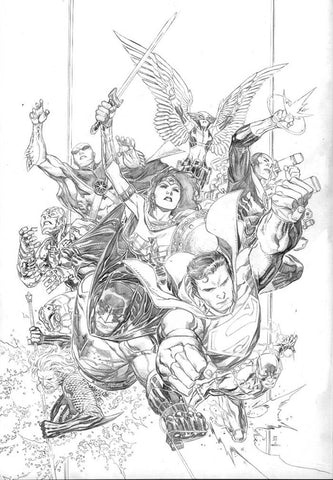 JUSTICE LEAGUE #1 1:250 JIM CHEUNG PENCILS ONLY VARIANT