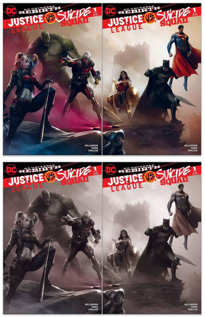 JUSTICE LEAGUE VS SUICIDE SQUAD #1 FRANCESCO MATTINA JOINING COVERS COLOUR + B & W - Sad Lemon Comics