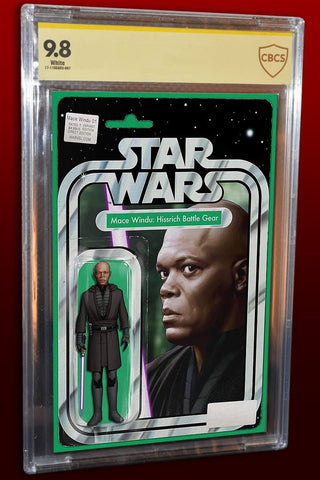 STAR WARS JEDI REPUBLIC MACE WINDU #1 EXCLUSIVE JOHN TYLER CHRISTOPHER ACTION FIGURE VARIANT LTD TO 3000 CBCS 9.8 SS SIGNED BY JTC