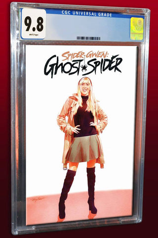 SPIDER-GWEN AKA GHOSTSPIDER #1 MIKE MAYHEW ASM 50 WHITE TRADE VARIANT LIMITED TO 1000 CGC 9.8 PREORDER