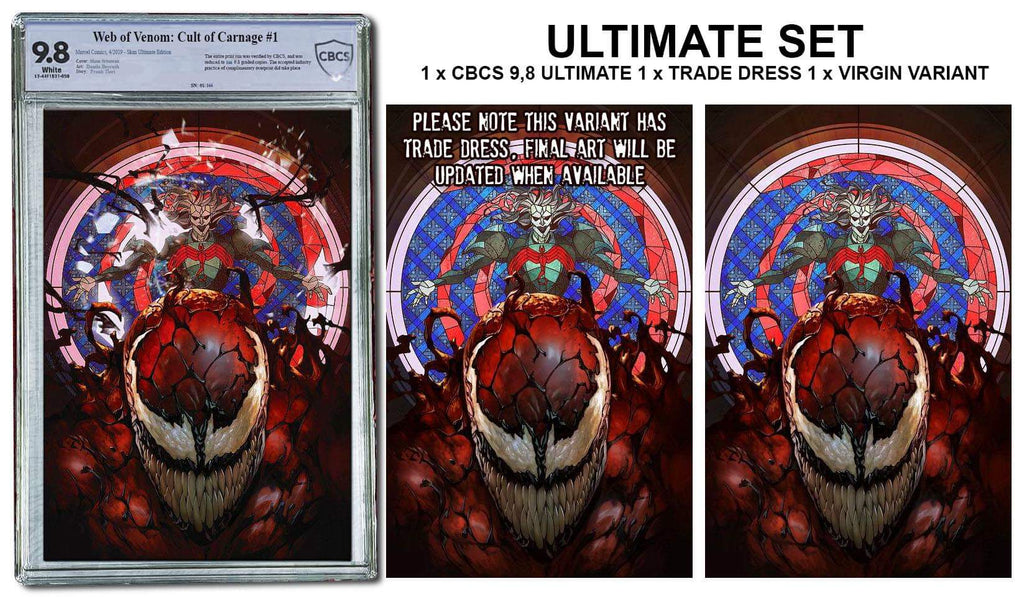 WEB OF VENOM CULT OF CARNAGE #1 SKAN SRISUWAN ULTIMATE CBCS 9.8 LIMITED 166 & RAW TRADE DRESS/VIRGIN SET LIMITED TO 800 SETS