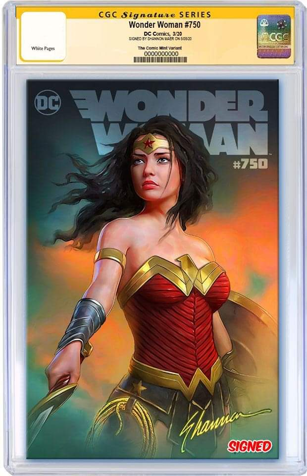 WONDER WOMAN #750 SHANNON MAER VARIANT LIMITED TO 750 WITH NUMBERED PENCIL CONCEPT COA CGC SS PREORDER