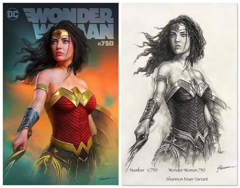 WONDER WOMAN #750 SHANNON MAER VARIANT LIMITED TO 750 WITH NUMBERED PENCIL CONCEPT COA