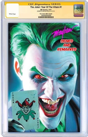 JOKER YEAR OF THE VILLAIN #1 MIKE MAYHEW VIRGIN VARIANT LIMITED TO 600 CGC REMARK PREORDER