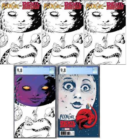 MOON GIRL AND DEVIL DINOSAUR #19 3x BW VARIANT, 1x COLOUR SPLASH VIRGIN VARIANT CGC 9.8 1:25 VARIANT CGC 9.8