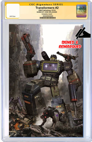 TRANSFORMERS #2 JOHN GALLAGHER VIRGIN VARIANT LIMITED TO 600 CGC REMARK PREORDER