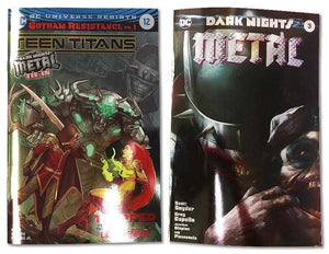 7 Ate 9 Comics Comic DARK NIGHTS METAL #3 & TEEN TITANS #12 Foil Variant Cover Set